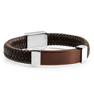 Gerard Braided Brown Leather & Bronze Personalized Bracelet