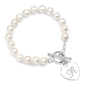 Genuine Pearl Bracelet with Sterling Heart Charm