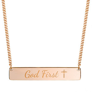 God First Rose Gold Bar Necklace