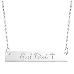 God First Skinny Engraved Bar Necklace