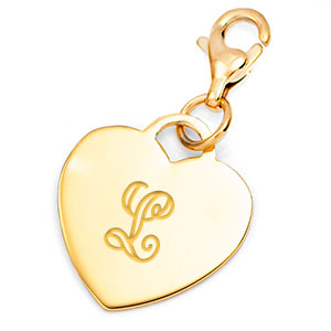Gold Custom Engraved Heart Charm