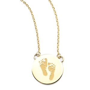 Gold Disc Baby Footprint Necklace