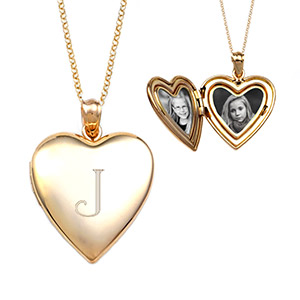 Olivia Gold Heart Personalized Locket Necklace