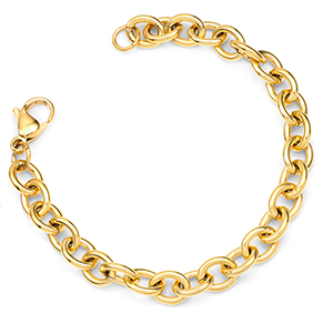 Gold Plated Stainless Steel Bracelet for Charms 7 inch