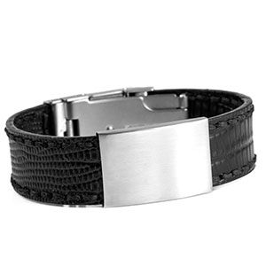 Black Leather Bracelet & Stainless Steel ID Tag 7 3/4 Inch