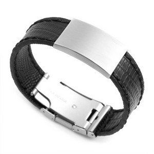Black Leather Bracelet & Stainless Steel ID Tag 8 3/4 Inch