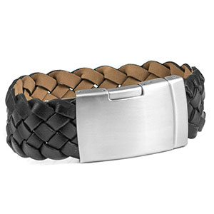 Engraved Black Leather Bracelet with Stainless Clasp 9 inch