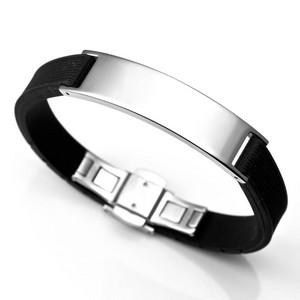 Mens Black Rubber & Stainless Steel Bracelet