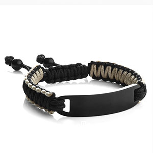 Black & Gray Macrame Personalized Bracelet for Him