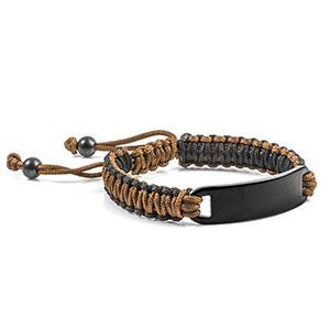 Chocolate and Black Macrame Personalized Bracelet for Him