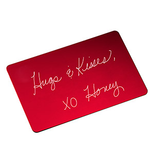 Red Engraved Handwriting Wallet Card