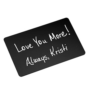 Black Engraved Handwriting Wallet Card