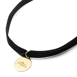 Jane Black Velvet Engraved Choker Necklace