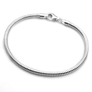 Sterling Silver Snake Chain Bracelet for Charms 7 - 8 Inch
