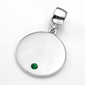 Engraved May Birthstone Pendant or Charm Sterling 3/4 Inch