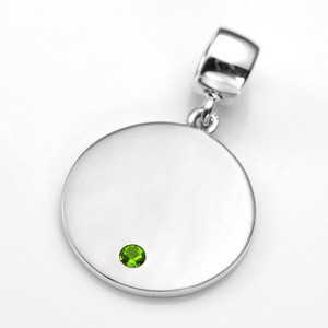 Engraved August Birthstone Pendant or Charm Sterling 3/4 Inch