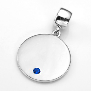 Engraved September Birthstone Pendant or Charm Sterling 3/4 Inch
