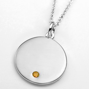 Nov Birthstone Sterling Silver Small Pendant