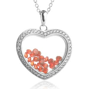 Astra July Birthstone Sterling Silver Heart Necklace