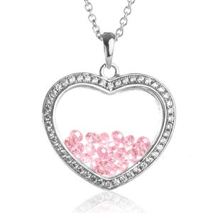 Astra October Birthstone Sterling Silver Heart Necklace