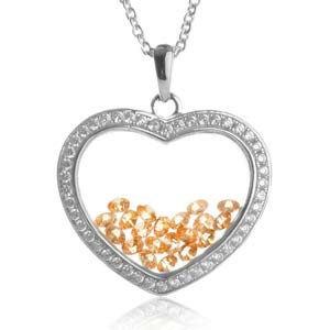 Astra November Birthstone Sterling Silver Heart Necklace