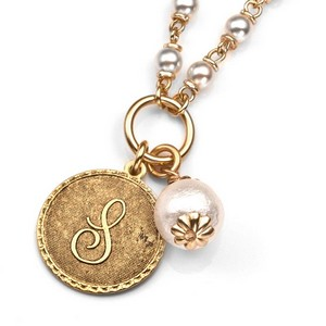 S Initial Gold Plated & Cotton Pearl Necklace by John Wind