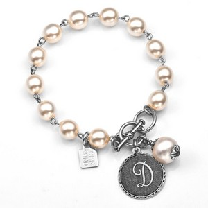 D Initial Silver Plated & Cotton Pearl Bracelet by John Wind