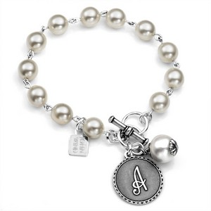 Initials - Silver Plate & Cotton Pearl Bracelet by John Wind
