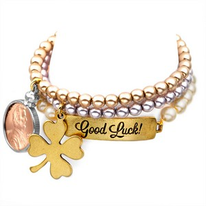 Good Luck! 24K Gold Plated Charm Bracelets by John Wind