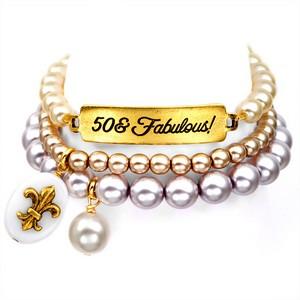 50 & Fabulous! 24K Gold Plated Charm Bracelets by John Wind