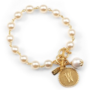 W Initial Gold Plated & Cotton Pearl Bracelet by John Wind