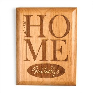Home Sweet Home Alder Wood Personalized Wall Plaque 7 x 9 In