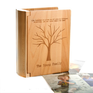 Personalized Family Tree Maple Wood Picture Album