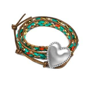 Aphrodite Engraved Heart Button Beaded Leather Double Wrap Bracelet