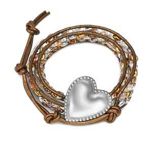 Athena Engraved Heart Button Beaded Leather Double Wrap Bracelet