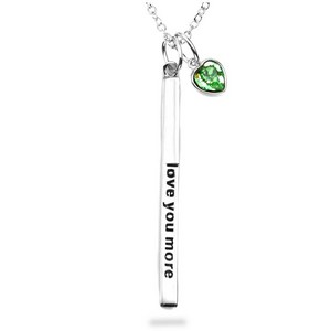 Love You More Sterling Silver Personalized Birthstone Necklace