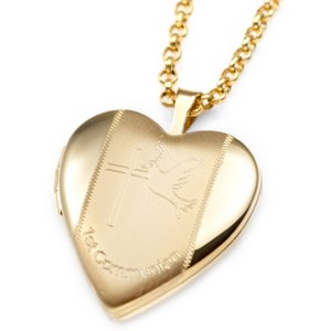 Dove Gold Filled 1st Communion 2 Photo Heart Locket 3/4 Inch