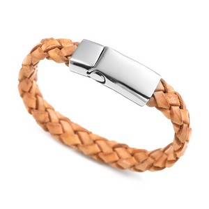 Braided Tan Leather & Stainless Steel ID Bracelet 7 1/2 Inch