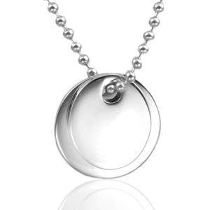 Silver Engraved Double Pendant with Bead Necklace