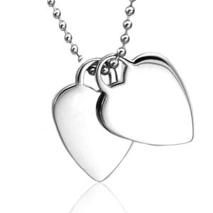 Engraved Double Heart Silver Necklace