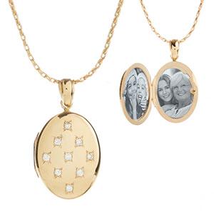 14K Gold & Diamonds Engraved Locket Necklace