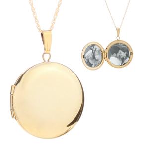 14K Gold Round Engraved Locket Necklace