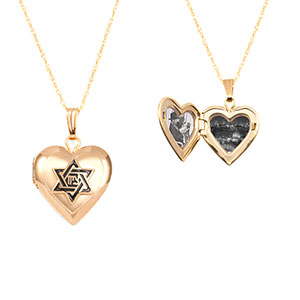 Star of David 14K Gold Heart Engravable Locket