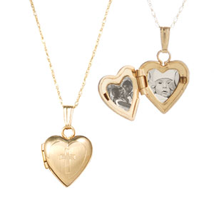 Cross Etched 14k Gold Personalized Lockets