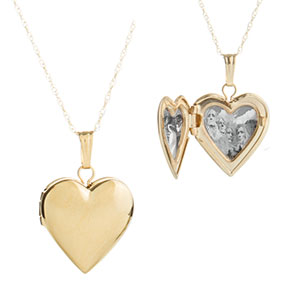 14K Gold Girls Small Heart Engraved Locket