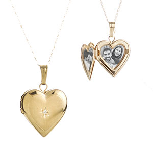 14K Gold & Diamond Heart Engraved Lockets 15 inch chain