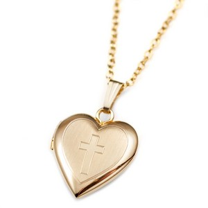 14k Gold Filled Cross Engraved Locket