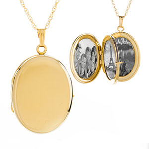 14K Gold Filled Oval 4 Photo Personalized Locket Necklace