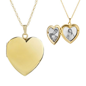 Gold 2 Photo Engraved Heart Locket Necklace