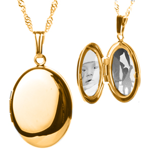 14K Gold Oval 2 Pic Personalized Lockets Necklace